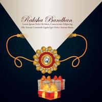 Happy rakhi indian traditional festival invitation greeting card with creative gifts and crystal rakhi vector