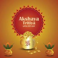 Akshaya tritiya indian festival of jewellery sale promotion with gold coin pot and traditional kalash vector