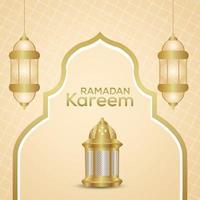 Eid mubarak arabic islamic festival background with realistic lantern vector