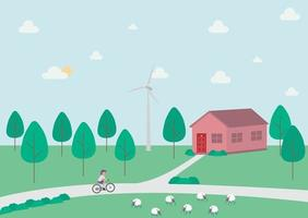 paisaje rural con una casa árboles ciclista y ovejas en el campo con bosque y molino de viento vector ilustración de concepto plano