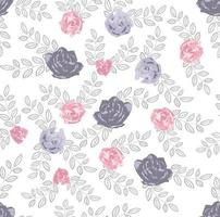 Botanical seamless pattern with pink and purple flowers and dark leaves on white background Perfect for wallpaper background textile or wrapping paper Vector illustration