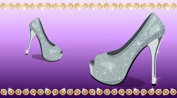 Shoes high heels purple background vector