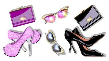 Set fashion accessory isolated vector