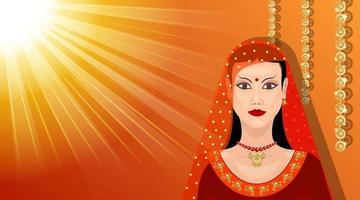 estilo de dibujos animados de vista frontal de mujer oriental vector