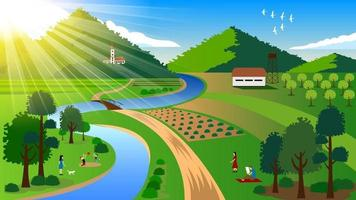 Family picnic in the open landscape vector