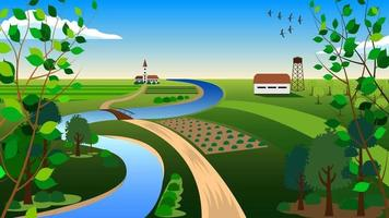 Country landscape summer cartoon vector