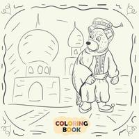 Coloring book for young children contour illustration in the style of doodle Teddy bear in the national costume of the Turk vector