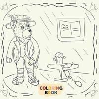 Coloring book for young children contour illustration in the style of doodle Teddy bear in the national costume of the German vector
