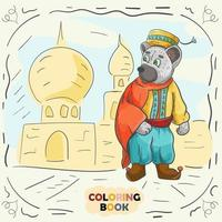 Book color contour illustration for small children in the style of doodle Teddy bear in the national costume of the Turk vector