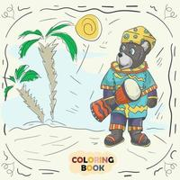 Book color contour illustration for small children in the style of doodle Teddy Bear in the national costume of the Nigerian vector