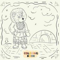 Coloring book for young children contour illustration in the style of doodle Teddy bear in the national costume of the Eskimo vector