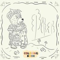 Coloring book for young children contour illustration in the style of doodle Teddy bear girl in the national Russian costume vector