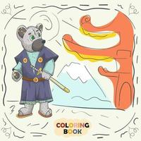 Book color contour illustration for small children in the style of doodle Teddy Bear in the national Japanese kimono samurai costume vector