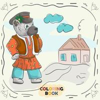 Book color contour illustration for small children in the style of doodle Teddy bear in the national Russian costume vector