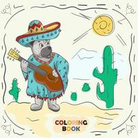 Book color contour illustration for small children in the style of doodle Teddy bear with guitar in the national costume of the Mexican vector