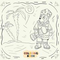 Coloring book for young children contour illustration in the style of doodle Teddy bear in the national costume of the Nigerian vector