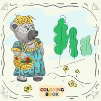 Book color contour illustration for small children in the style of doodle Teddy bear girl in the national Russian costume vector