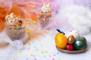 Colorful decorated Easter eggs photo