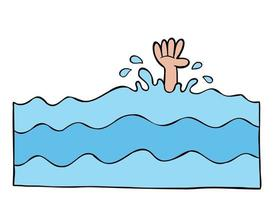 Cartoon Vector Illustration Of The Man And His Hand Drowning In The Sea