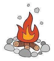 ilustración vectorial de dibujos animados de fogata piedras leña y fuego ardiente vector