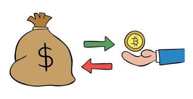 ilustración vectorial de dibujos animados de un saco de dólares y 1 intercambio de bitcoin vector