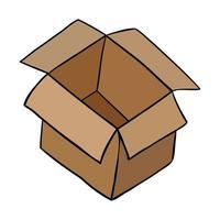 Cartoon Vector Illustration of Open Empty Parcel Box
