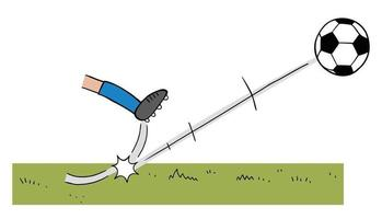Cartoon Vector Illustration of Soccer Player Kicking a Ball on the Field
