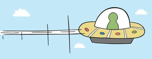 Cartoon Vector Illustration of UFO Flying in the Sky