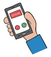 Cartoon Vector Illustration of Man Holding Smartphone and Spam Call