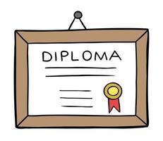 Cartoon Vector Illustration of Framed Diploma Hanging On the Wall