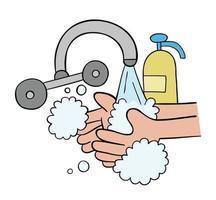 Ilustración de vector de dibujos animados de lavarse las manos con jabón