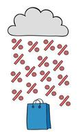 Cartoon Vector Illustration of Shopping Bag Cloud and Discount Rain