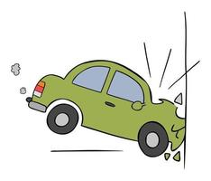 Cartoon Vector Illustration of Car Accident Crashing Into the Wall