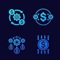 efficiency and cost reduction vector icons