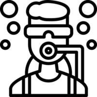 icono de línea para bucear vector