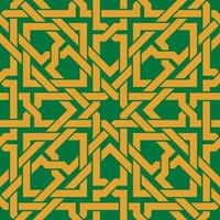 Seamless pattern with golden celtic ornament on green background vector
