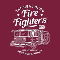 Vintage Fire Truck Vector Graphic