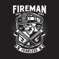 cráneo de bombero con hachas cruzadas vector