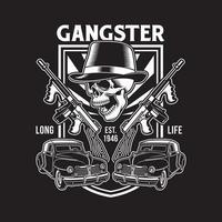 Gangster Skull With Machine Guns vector
