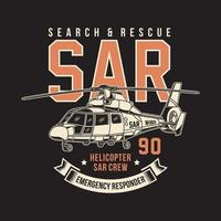 Search and Rescue Helicopter Vector Graphic