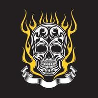 Ornate Flaming Skull vector