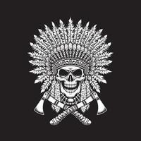 Cráneo de indio nativo americano con hachas de guerra cruzadas vector