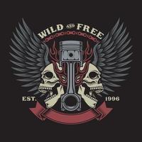 Biker Skull Emblem Vector Graphic On Black