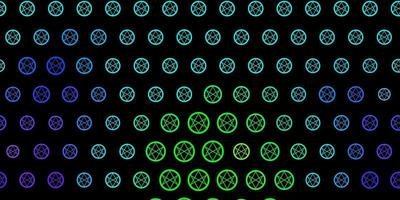 Fondo de vector multicolor oscuro con símbolos ocultos.