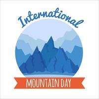 tarjeta del día internacional de la montaña 11 de diciembre hohiday picos naturaleza geométrica paisaje ilustración vectorial plana concepto de fondo de banner vector