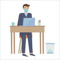 Hombre con traje y mascarilla protectora emplazamiento en la mesa trabajo remoto educación en línea oficina en casa efectos de cuarentena concepto stock vector ilustración aislada sobre fondo blanco en estilo de dibujos animados plana