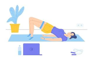 Girl do a pelvic lift lying on mat during watching sport coach on laptop Online exercise sport home vector