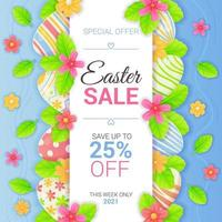 Vertical Easter sale banner with eggs  lives and flowers  Spring season promotion  discount flayer  special offer typography template concept  Stock vector illustration in cartoon realistic style