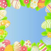 Square spring Easter background with copy space  Eggs decorated flowers and leaves bordered on edges on blue background vector