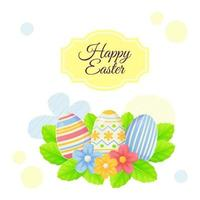 Simple Easter greeting poster with eggs lives and flowers Can be used for promotion invitation special offer typography template concept Stock vector illustration in cartoon realistic style